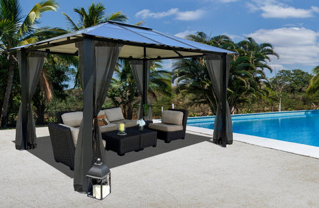 Paragon Durham 10x13 10x12 Hard Top with Netting Gazebo - The Better Backyard