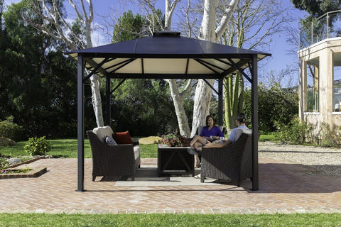 Image of Paragon Durham 10x13 10x12 Hard Top with Netting Gazebo - The Better Backyard