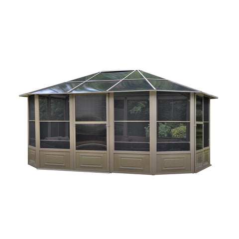 Image of Penguin™ Sunroom Kit Gray/Tan with Polycarbonate Roof 12' x 18' Solarium Gazebo Penguin