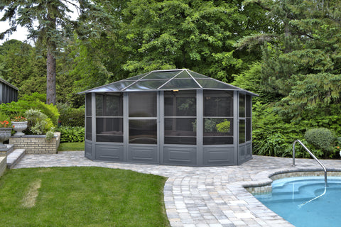 Penguin™ Sunroom Kit Gray/Tan with Polycarbonate Roof 12' x 18' Solarium Gazebo Penguin