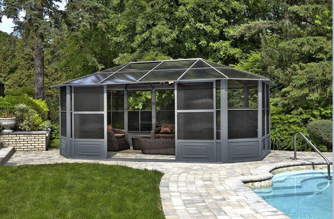 Image of Penguin™ Sunroom Kit Gray/Tan with Polycarbonate Roof 12' x 18' Solarium Gazebo Penguin Grey 12x18