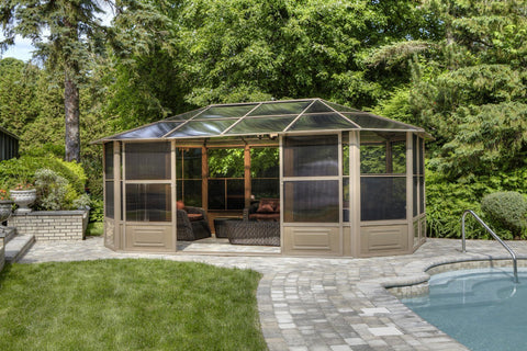 Penguin™ Sunroom Kit Gray/Tan with Polycarbonate Roof 12' x 18' Solarium Gazebo Penguin Tan 12x18