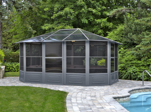 Penguin™ Sunroom Kit Gray/Tan with Polycarbonate Roof - The Better Backyard