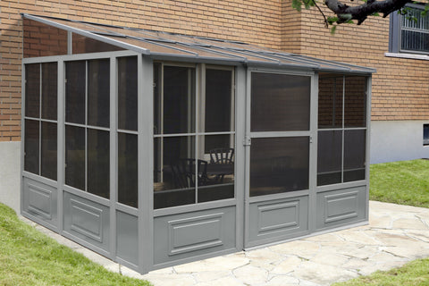Image of Penguin™ Sunroom Patio Enclosure Kit Gray/Tan with Polycarbonate Roof Solarium Gazebo Penguin Grey 10'x12'