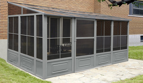 Image of Penguin™ Sunroom Patio Enclosure Kit Gray/Tan with Polycarbonate Roof Solarium Gazebo Penguin Grey 10'x16'
