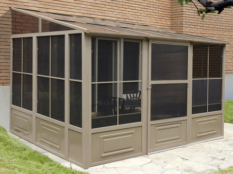 Image of Penguin™ Sunroom Patio Enclosure Kit Gray/Tan with Polycarbonate Roof Solarium Gazebo Penguin Tan 10'x12'