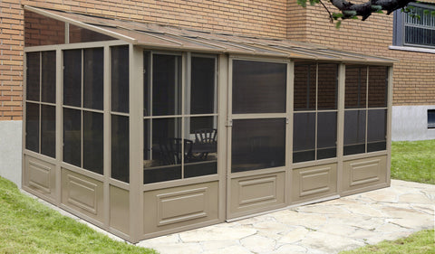 Penguin™ Sunroom Patio Enclosure Kit Gray/Tan with Polycarbonate Roof Solarium Gazebo Penguin Tan 10'x16'