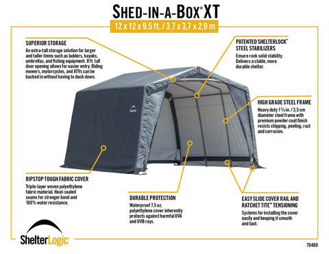Shed-in-a-Box XT 12x12x9.5 Peak Gray Storage Product ShelterLogic