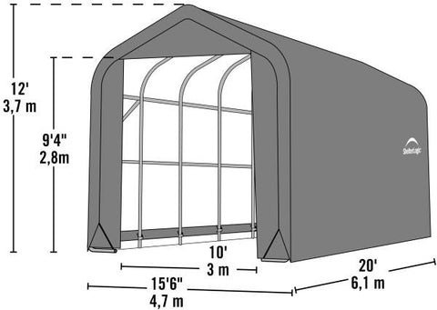 Shelter Logic 20x15x12  Peak Style Shelter - The Better Backyard