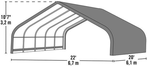 Shelter Logic 20x22x10 Peak Style Run-In Custom Shelters - The Better Backyard