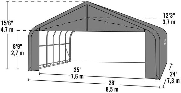 Shelter Logic 24x28x16 Sheltercoat  Custom Shelters - The Better Backyard