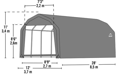 Shelter Logic 28x12x11 Barn Shelter - The Better Backyard