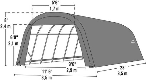 Image of Shelter Logic 28x12x8 Round Style Shelter - The Better Backyard