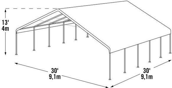 Shelter Logic 30x30x13 Frame White Cover FR Rated Canopy - The Better Backyard