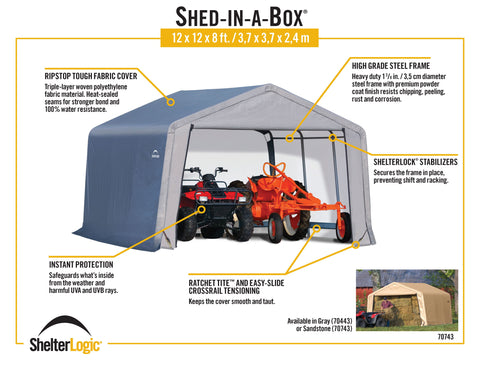 ShelterLogic Shed-in-a-Box 12 x 12 x 8 ft Peak Gray Shed ShelterLogic