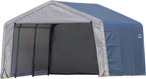 Image of ShelterLogic Shed-in-a-Box 12 x 12 x 8 ft Peak Gray Shed ShelterLogic