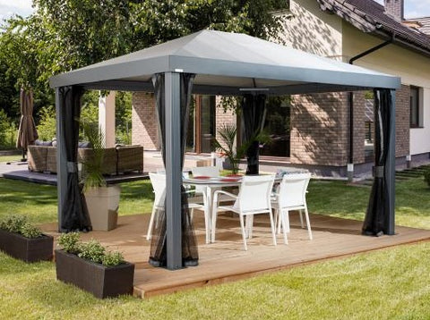 Image of Sojag™ 10x12ft Monteserra Grey Gazebo with Mosquito Netting Gazebo SOJAG