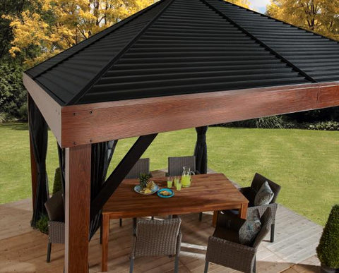 Sojag™ 12 x 12 ft. Valencia Wood Finish Gazebo with Mosquito Netting Gazebo SOJAG