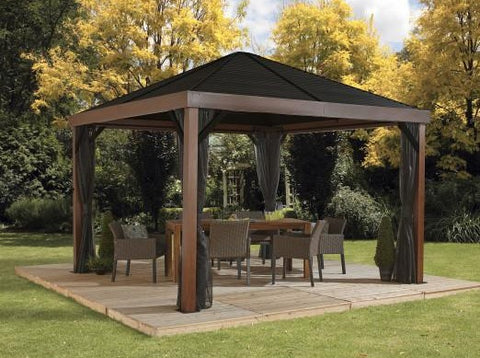 Image of Sojag™ 12 x 12 ft. Valencia Wood Finish Gazebo with Mosquito Netting Gazebo SOJAG
