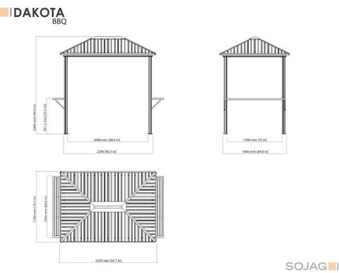 Image of Sojag™ 6x8 ft. Dakota Grill Gazebo Steel Roof Gazebo SOJAG