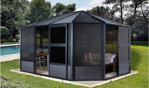 Sojag™ Charleston 4-Season Sunroom Kit Dark Gray with Steel Roof Solarium SOJAG