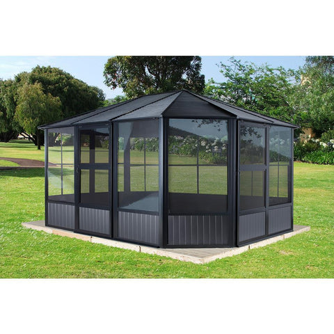 Sojag™ Charleston 4-Season Sunroom Kit Dark Gray with Steel Roof - The Better Backyard