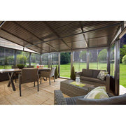 Image of Sojag™ Charleston Sunroom Patio Enclosure Kit Dark Gray with Steel Roof - The Better Backyard