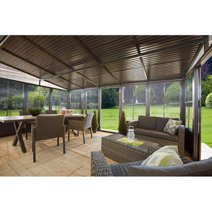 Sojag™ Charleston Sunroom Patio Enclosure Kit Dark Gray with Steel Roof - The Better Backyard