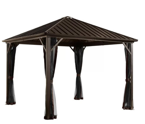 Image of Sojag™ Dakota Steel Roof Gazebo with Mosquito Netting - The Better Backyard