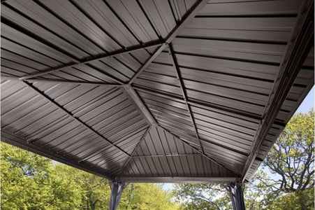 Sojag™ Genova Shelter Steel Roof Gazebo with Mosquito Netting - The Better Backyard