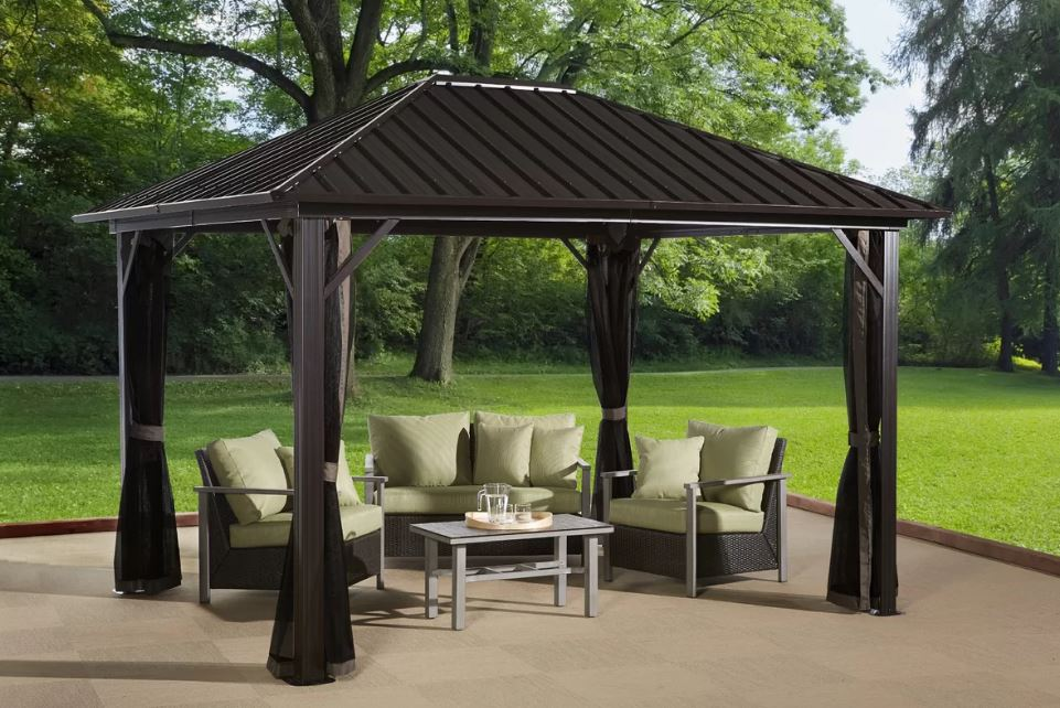 Sojag Genova Gazebo Steel Roof With Mosquito Netting The Better Backyard