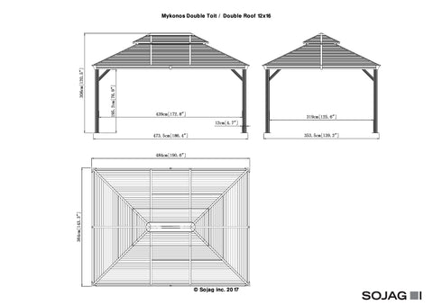 Image of Sojag™ Mykonos II Gazebo Steel Roof with Mosquito Netting - The Better Backyard