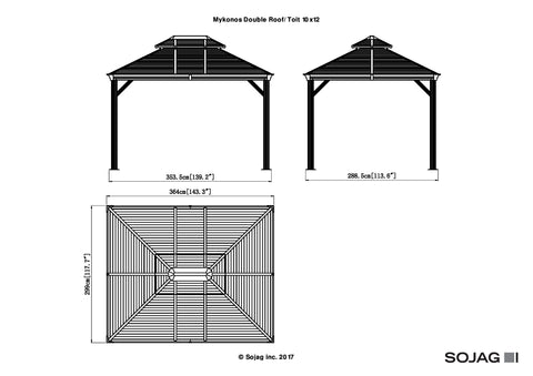 Sojag™ Mykonos II Gazebo Steel Roof with Mosquito Netting - The Better Backyard