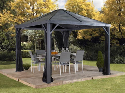 Sojag™ Sanibel Gazebo Steel Roof with Mosquito Netting - The Better Backyard