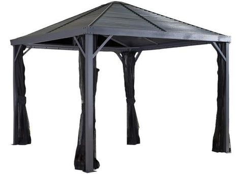Image of Sojag™ Sanibel Gazebo Steel Roof with Mosquito Netting - The Better Backyard