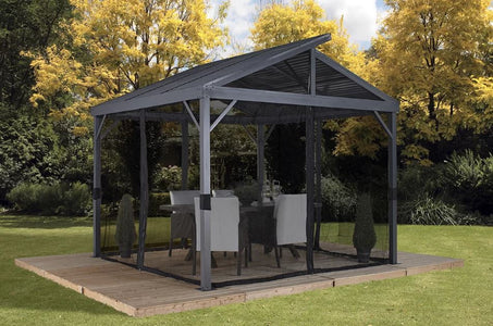 Sojag™ Sanibel II Gazebo Steel Roof with Mosquito Netting - The Better Backyard