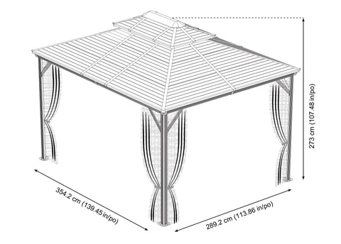 Sojag™ Ventura Steel Double Roof Gazebo with Mosquito Netting Gazebo SOJAG