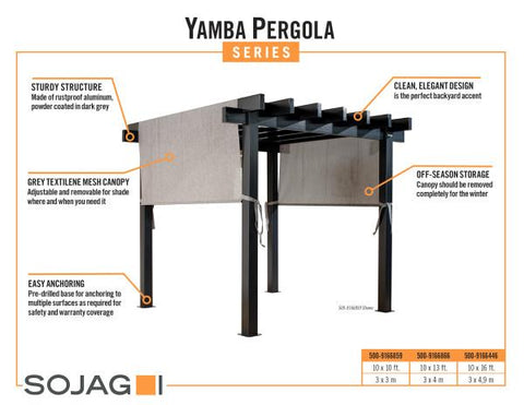 Sojag Yamba Pergola with Adjustable Shade Grey Pergola SOJAG