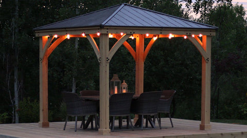 Yardistry 10 x 10 Meridian Gazebo Kit 100% Cedar with Aluminum Roof Gazebo Yardistry