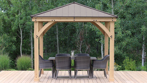Image of Yardistry 10 x 10 Meridian Gazebo Kit 100% Cedar with Aluminum Roof Gazebo Yardistry