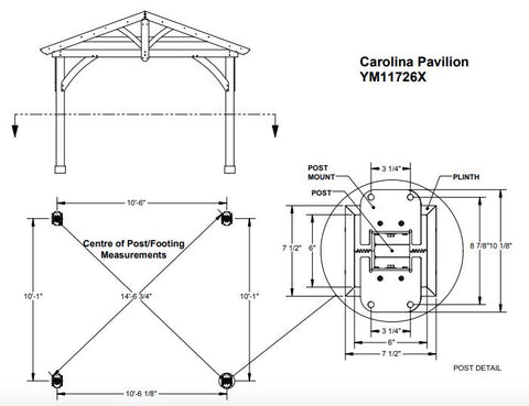 Yardistry 11 x 13 Carolina Pavilion 100% Cedar with Aluminum Roof Gazebo Yardistry