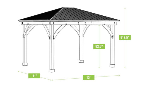Image of Yardistry 11 x 13 Meridian Gazebo 100% Cedar with Aluminum Roof Gazebo Yardistry