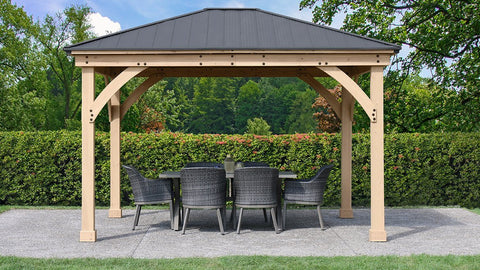 Yardistry 11 x 13 Meridian Gazebo 100% Cedar with Aluminum Roof Gazebo Yardistry