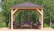Image of Yardistry 12 x 12 Meridian Gazebo 100% Cedar with Aluminum Roof Gazebo Yardistry