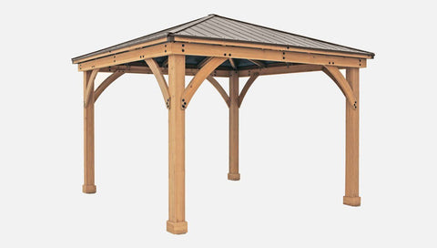 Yardistry 12 x 12 Meridian Gazebo 100% Cedar with Aluminum Roof Gazebo Yardistry