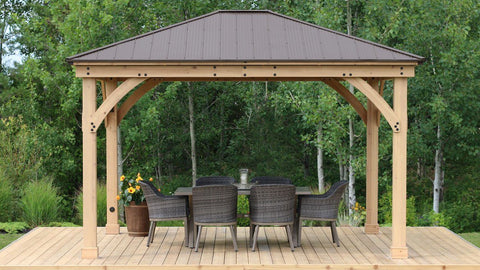 Image of Yardistry 12 x 14 Meridian Gazebo 100% Cedar with Aluminum Roof Gazebo Yardistry