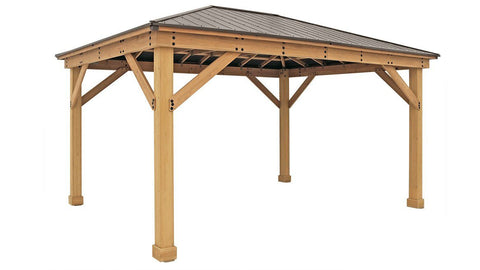 Yardistry 12 x 16 Meridian Gazebo 100% Cedar with Aluminum Roof Gazebo Yardistry