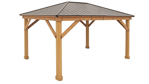 Image of Yardistry 12 x 16 Meridian Gazebo 100% Cedar with Aluminum Roof Gazebo Yardistry
