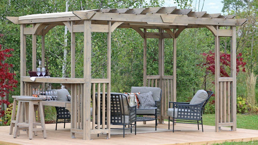 Yardistry 14 x 10 Madison Pergola with Sunshade & Bar Counter Pergola Yardistry