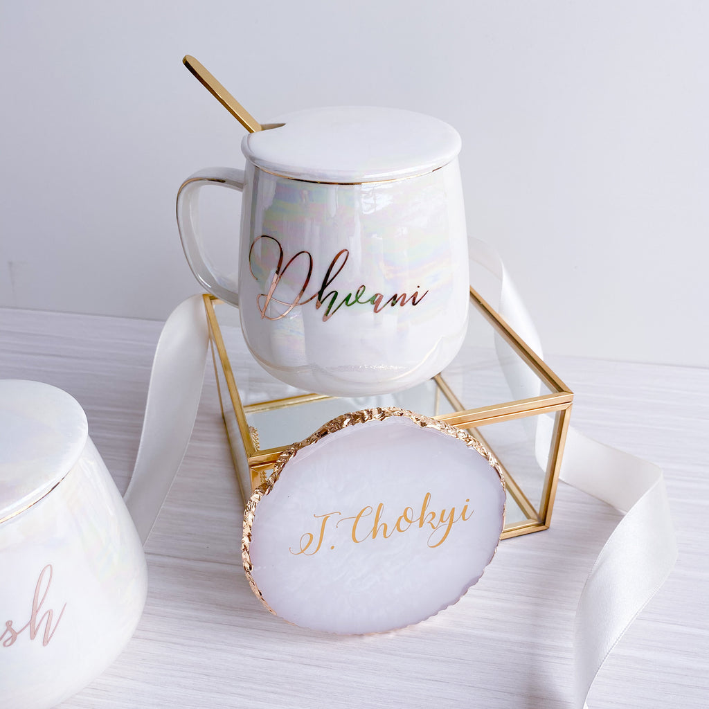 [X'mas 2020] Iridescent Coffee Mug & Agate Coaster Set